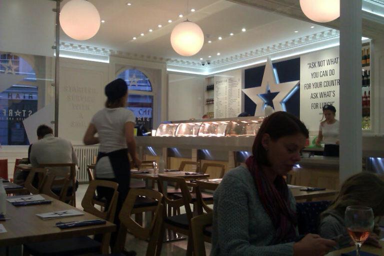 Commercial lighting installation in cafe restaurant
