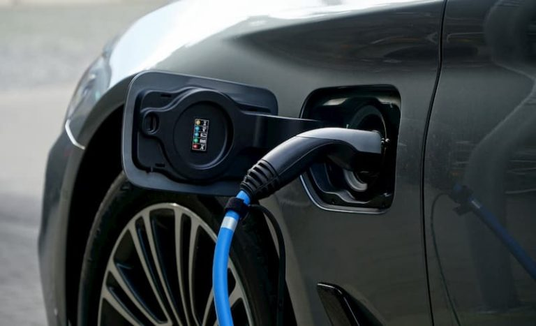 electric car charging close up